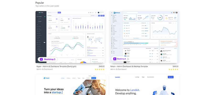 Bootstrap Theme listing.