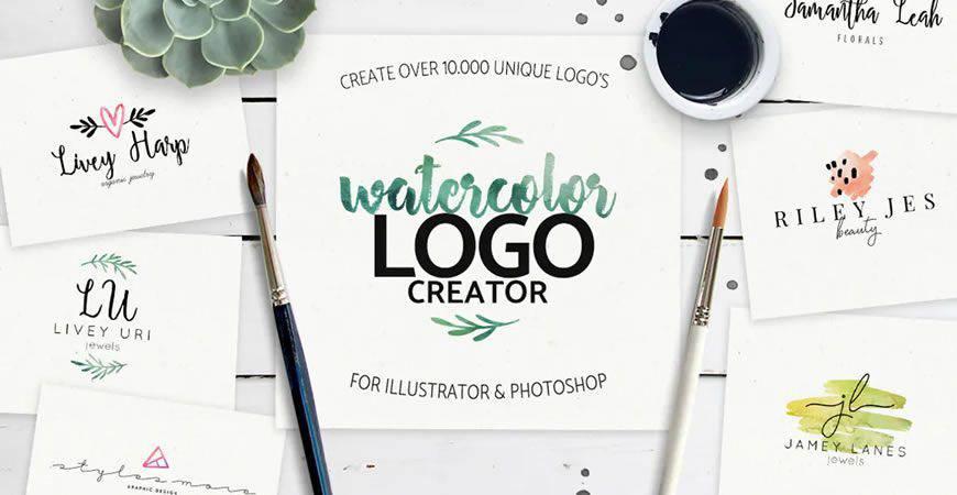 Watercolor logo creator kit template
