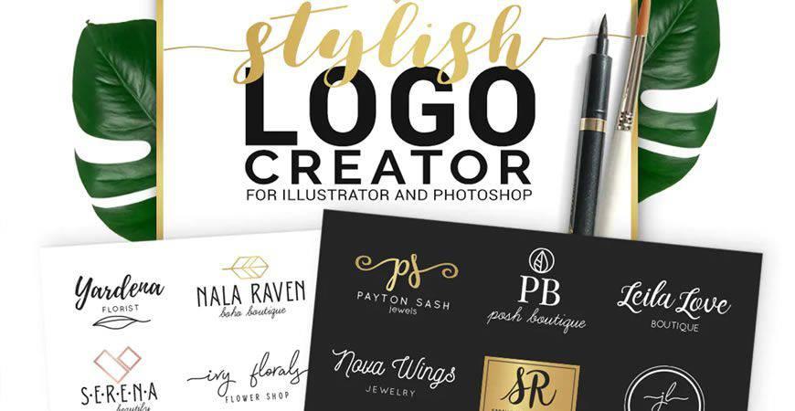 Stylish logo creator kit template