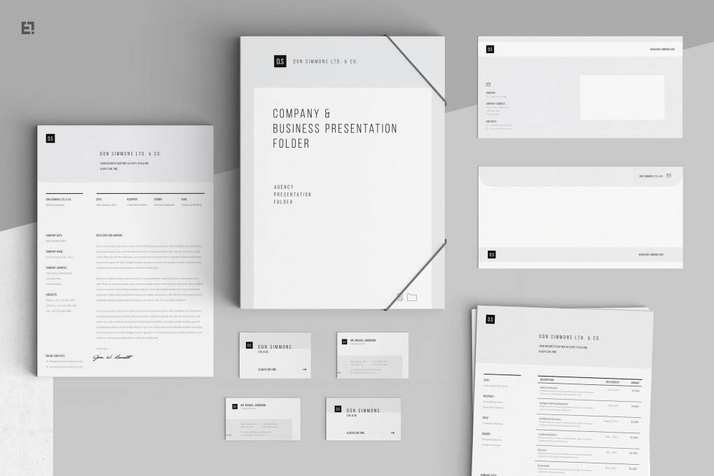 Minimal Gery corporate stationery business template format