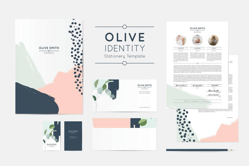 Olive Identity corporate stationery business template format