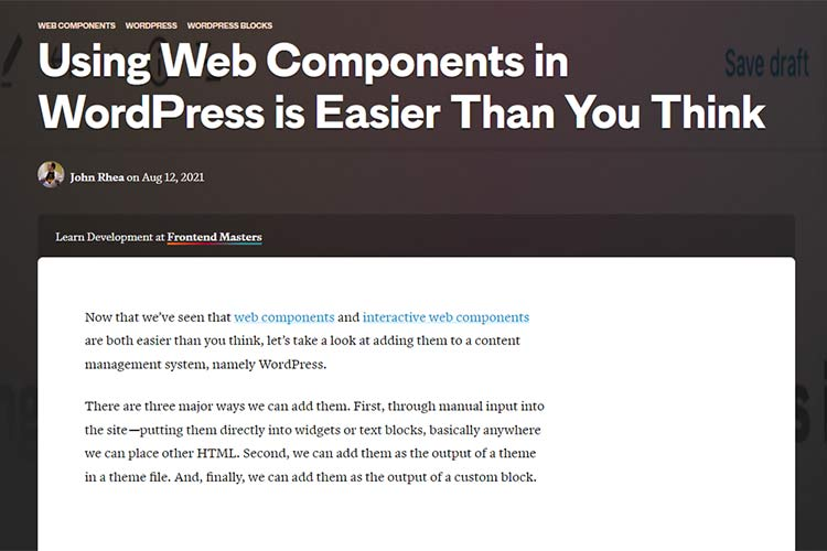 Example from Using Web Components in WordPress is Easier Than You Think
