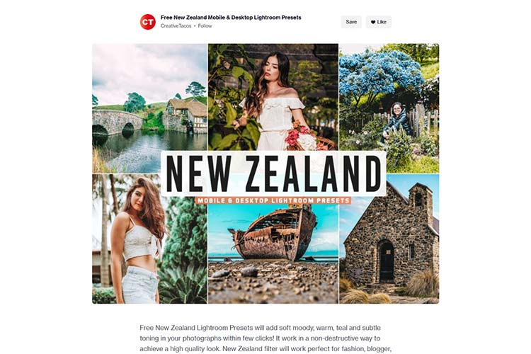 Example from Free New Zealand Mobile & Desktop Lightroom Presets