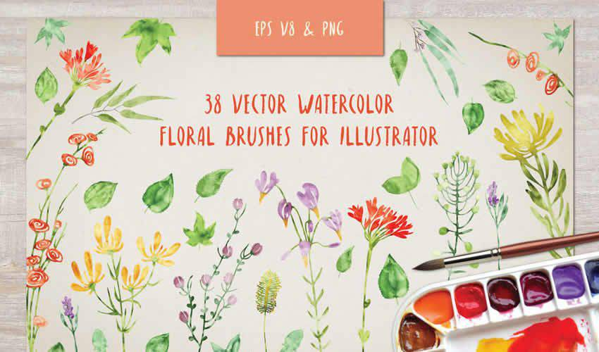 Floral Watercolor adobe illustrator brush brushes abr pack set free