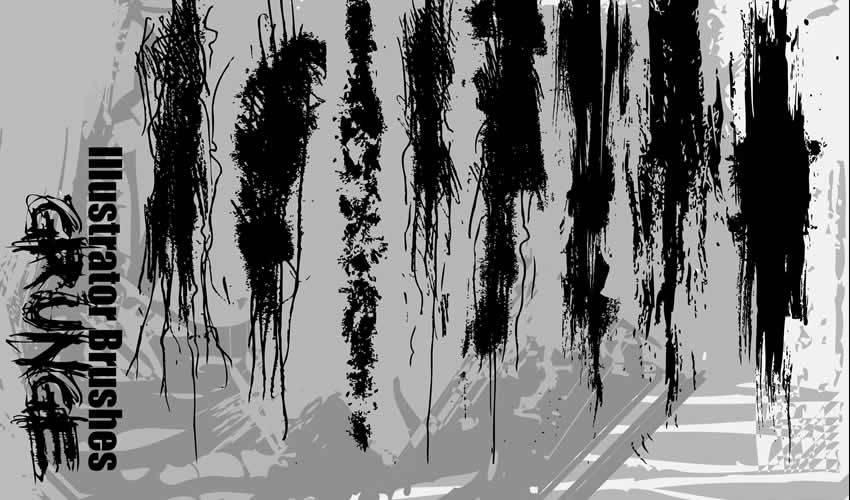 Grunge adobe illustrator brush brushes abr pack set free