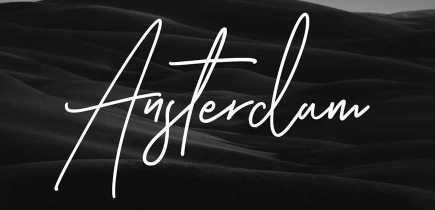 Ansterdam Clean Signature clean font typeface