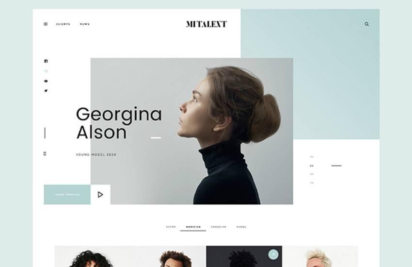 MI Talent Agency  web design layout adobe photoshop template free psd format