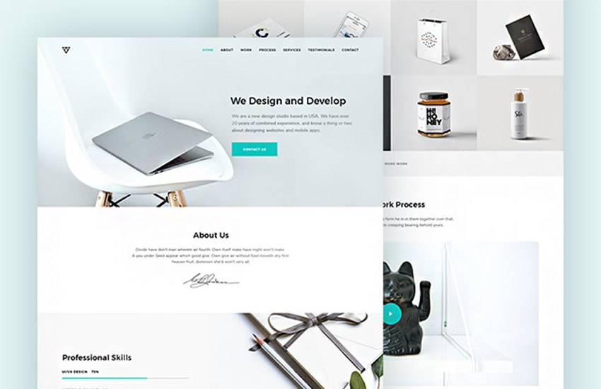 Piroll Agency Portfolio web design layout adobe photoshop template free psd format