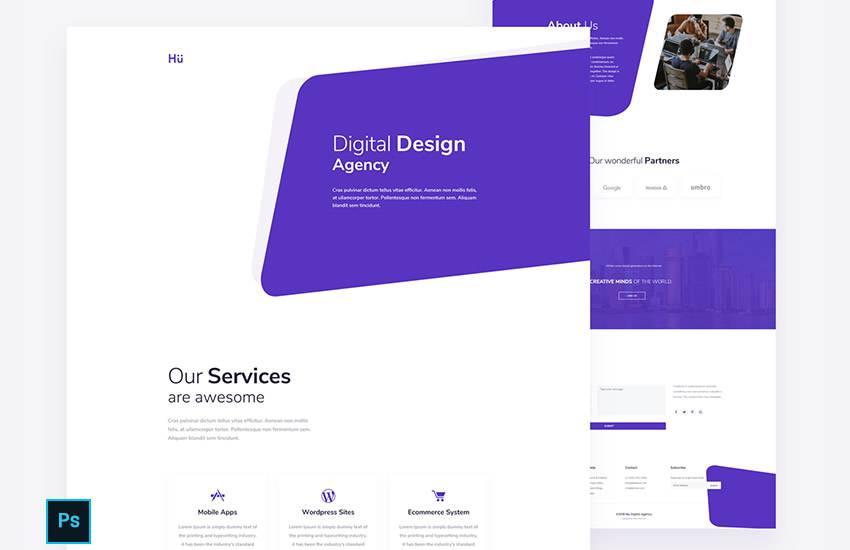 Digital Design Agency web design layout adobe photoshop template free psd format