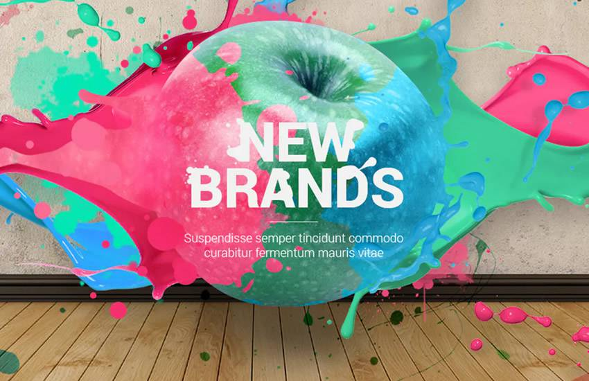 Splashes Creative Agency web design layout adobe photoshop template psd format