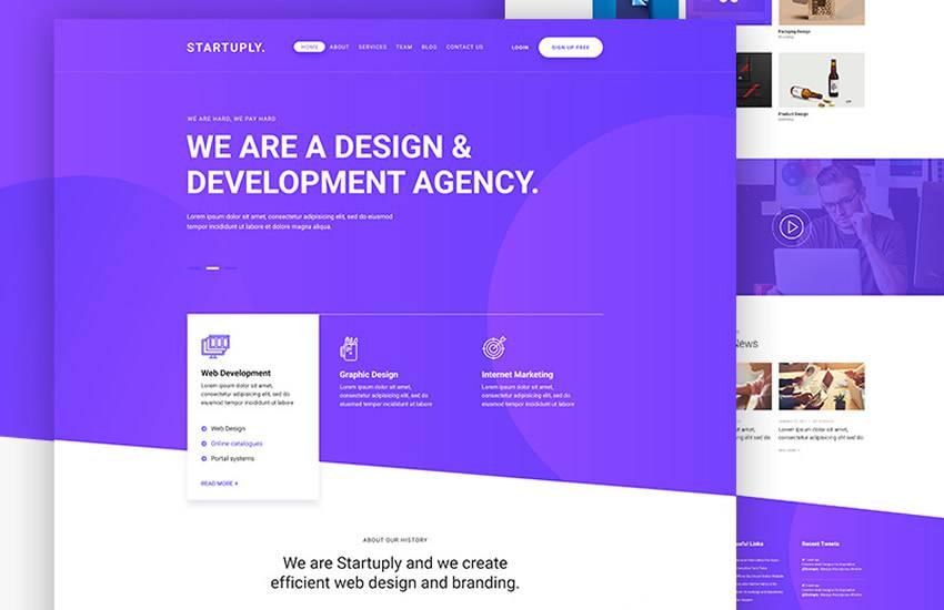 Startuply Design Agency Landing Page web design layout adobe photoshop template free psd format