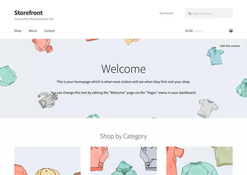Storefront Minimal free wordpress theme wp responsive ecommerce shop woocommerce