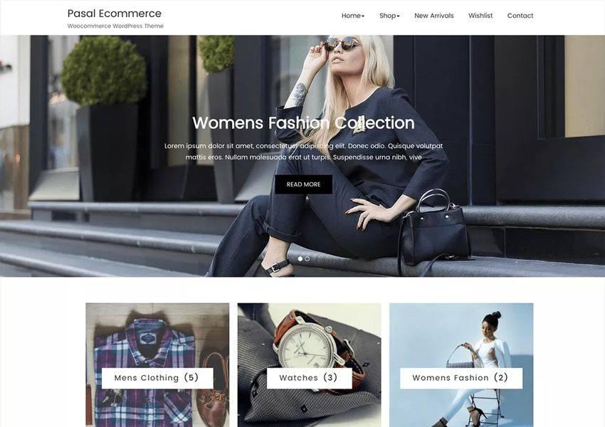 Pasal free wordpress theme wp responsive ecommerce shop woocommerce