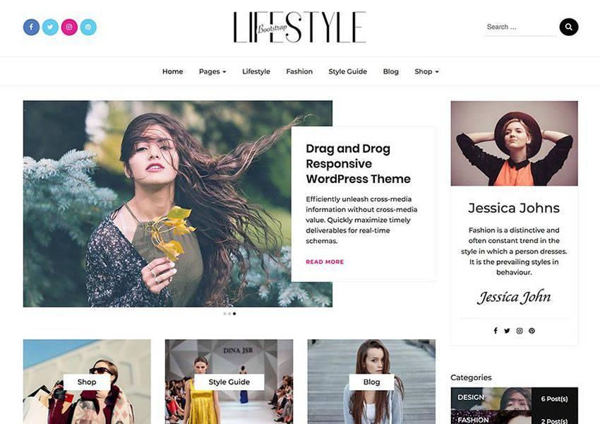 Bootstrap free wordpress theme wp responsive personal blog blogger blogging