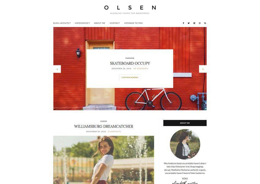 Olsen Light free wordpress theme wp responsive personal blog blogger blogging