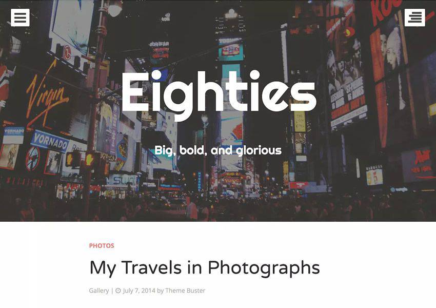 Eighties One-Column free wordpress theme wp responsive personal blog blogger blogging