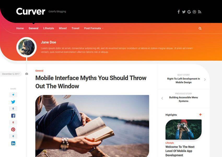 Curver free wordpress theme wp responsive personal blog blogger blogging
