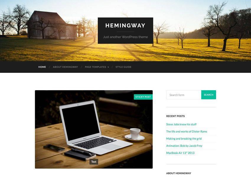 Hemingway Two-Column free wordpress theme wp responsive personal blog blogger blogging