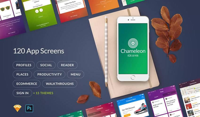Chameleon sketch mobile app ui kit sketch ux format design creative sketch.app