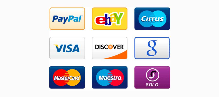 Credit Card Payment Icons free png Set