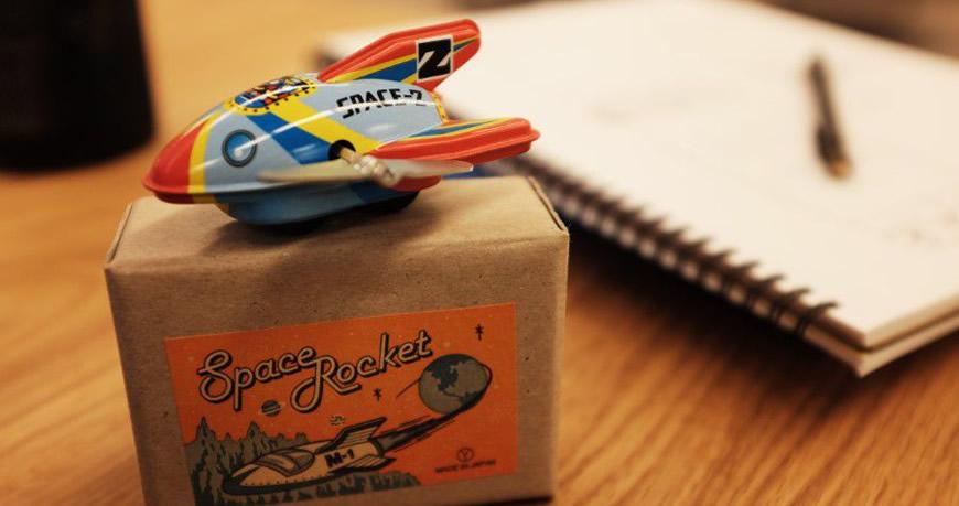 space rocket vintage toy box