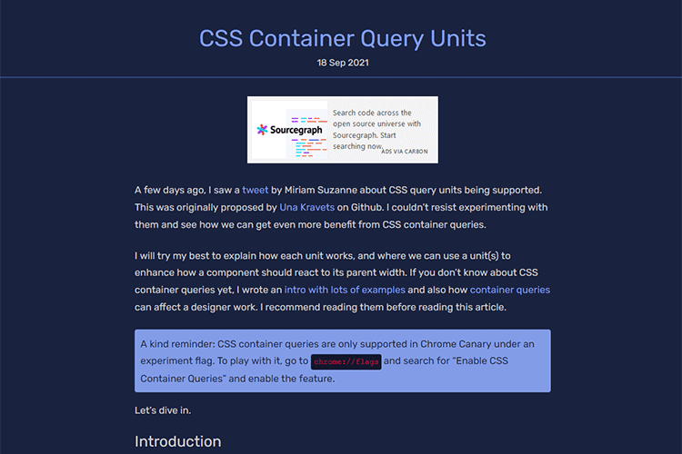 Example from CSS Container Query Units