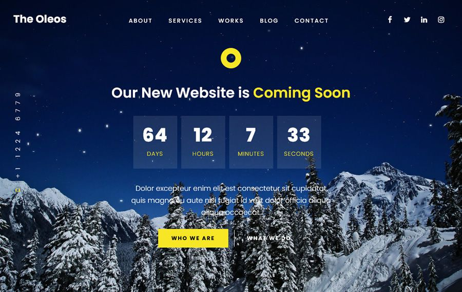 The Oleos coming soon page web design inspiration