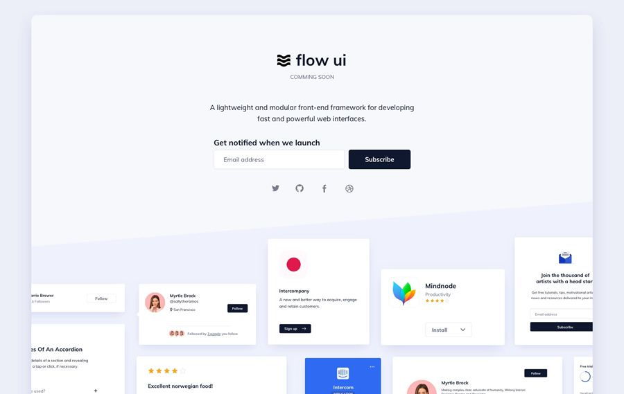 Flow UI coming soon page web design inspiration