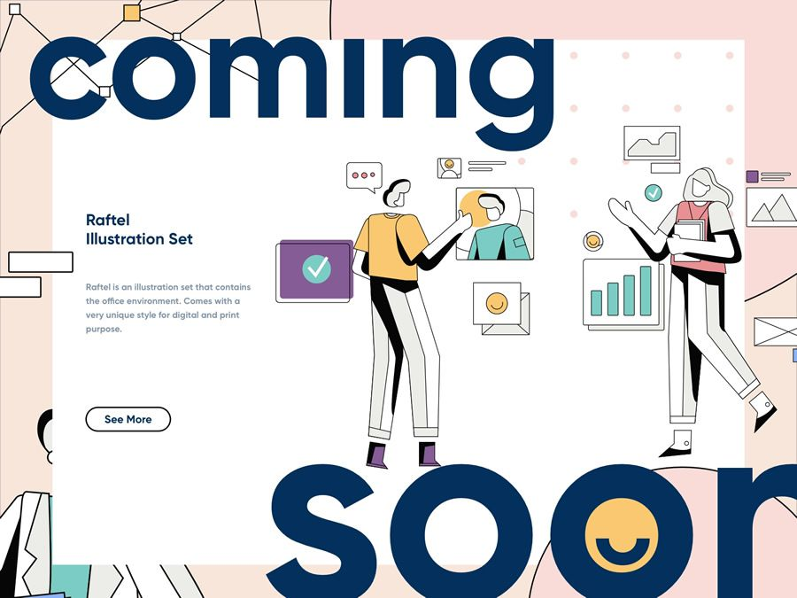 Raftel Coming Soon Illustration page web design inspiration