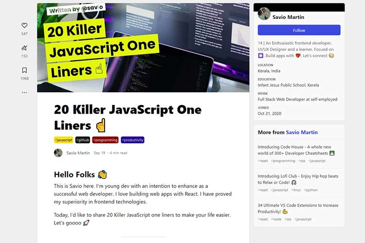 Example from 20 Killer JavaScript One Liners