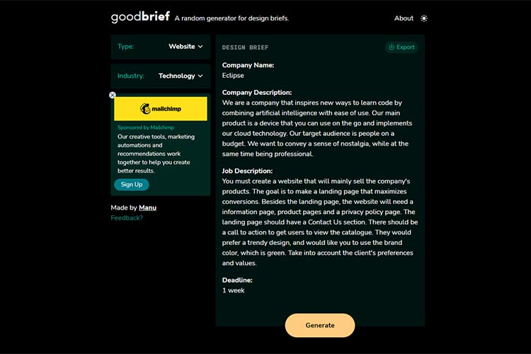 Example from goodbrief